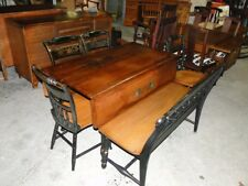 L. Hitchcock Dining Room Kitchen Dropleaf Table 4 Chairs & Bench Antique Vintage