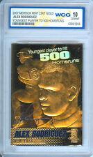 2007 ALEX RODRIGUEZ 500 HR's 23K GOLD CARD GEM MINT 10