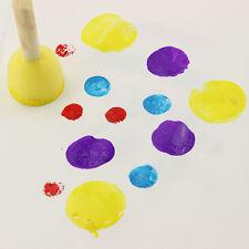 4 PCs Round Sponge Brush Wooden Handle Painting Graffiti Education Toy