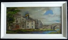 Large naive art oil painting on board – signed – Irish ?