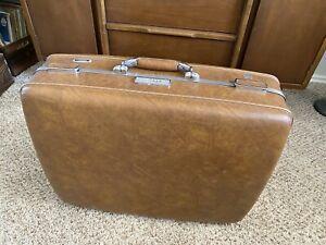 Vintage American Tourister Escort Hard Shell Tan Suitcase w/ Combination Lock