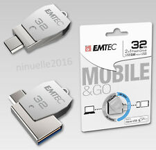 USB Stick FlashDrive 32GB EMTEC 2in1 Dual Mobile & Go micro-USB T250B Chrom