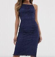 BNWT CLUB L @ TOPSHOP navy crochet lace cut out back midi dress size 12 40 £45