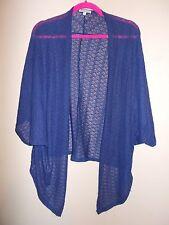Charlotte Russe Womens Size M Blue Semi-Sheer Shrug Sweater Dolman Sleeves