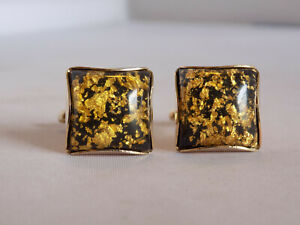 mens jewelry goldtone metal black cuff links 1960s Vintage black and metallic confetti lucite cufflinks vintage gold lucite cuff links