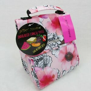 Betsey Johnson Insulated Flap Top Lunch Tote Bag Pink Red Blush Floral