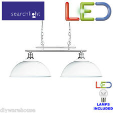 Searchlight Fusion 2 Light Bar Ceiling Pendant in Silver and White 0932-2wh