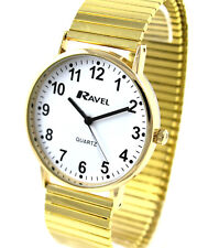 Ravel Mens BIG NUMBER Gold Tone Stretch Bracelet Easy Read Watch Minute Markings