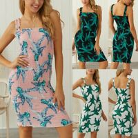 Women's Sexy Boho Sling Floral Bodycon Dresses Ladies Summer Holiday Beach Dress
