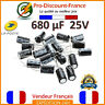 Lot Condensateurs Chimique RADIAL 680µF 680uF 680MF 25V 105° Électrolytique