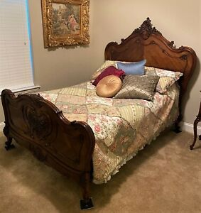 Antique c1870 French Rococo Carved Walnut Full Size Bed Frame & Mattress