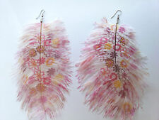 Costume Jewellery Pink & Red Flower Printed Drop Feather Earrings E59