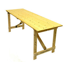 New Wooden 6' x 2' trestle table wooden table with folding legs