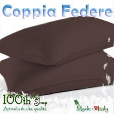 COPPIA FEDERE 52X82 100% COTONE MARRONE MARRONI FEDERA GUANCIALE CPFDMARR
