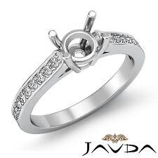 Round Semi Mount Fine Diamond Engagement Pave Setting Ring 14k White Gold 0.25Ct