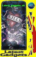 Unique Bling Evil Flame Skull Leather Flip Case Cover For iPhone 4 4G - GIFT  UK
