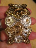 Awesome Unusual Hand Made SMALL FLORAL Crumrine Nobel Oklahoma Belt Buckle