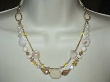 NWT Lia Sophia SUDDENLY NECKLACE - JADE, PICTURE JASPER, MOP, & FW PEARLS-RV $86