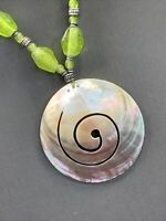 """Necklace Bohemian Mother Of Pearl  Pendant Necklace 16"""" Green Beaded Coin Accent"""