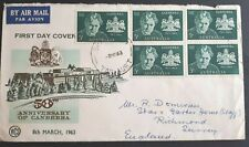 1963 Australia Stamp Fdc - 50 Years Canberra - H/S Tasmania 8/3/63 Airmail to Gb