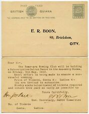 BRITISH GUIANA ROWING CLUB 1910 STATIONERY PRINTED to BOON + SIGNED RETURN CARD
