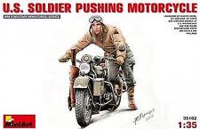Miniart 1/35 U.S. Soldier Pushing Motorcycle # 35182