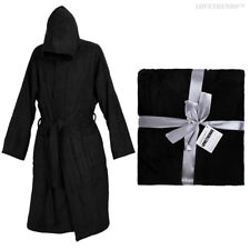Black Deluxe Hooded Robe 100 Cotton M L XL 2xl 3xl Mens Womens Gift Gown 3xl