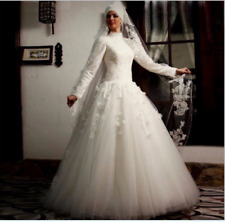 White Muslim Wedding Dresses Long Sleeve Saudi Arabia Bridal Gown custom size