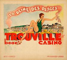 Original Vintage Travel Poster Trouville La Reine des Plages by Arte 1933 French