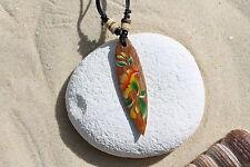 Wooden Retro Flower Surfboard Pendant Necklace Surfer Talisman Beach / N243d