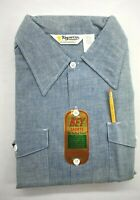 Vintage NOS Key Imperial Mens Blue Long Sleeve Button Up Shirt w/ Pencil 17-32