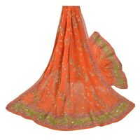 Sanskriti Vintage Orange Heavy Dupatta Pure Georgette Silk Hand Beaded Stole