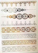 Temporary Tattoo, Einmal Tattoo, Gold Tattoo / WX-102WT, Fuss-. Handkettchen