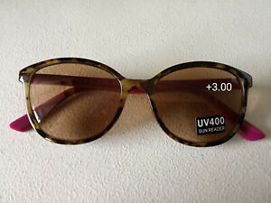 CE +3.00 DESIGNER EYE-LEVEL Women Reading Sun Readers pink purple & BROWN & case