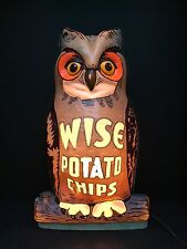 Wise Potato Chips Lighted Advertising Owl Display 1960's Nat Vacuum Molding Corp
