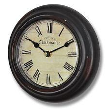 Wall Kitchen Clock - Dark Brown ' Chester Clockmaker ' Clock 20cm