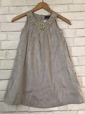 NWT Girl's Mini Boden  5 6 Y EMBELLISHED NECK Dress/jumper METALLIC COLOR
