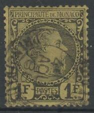 "MONACO STAMP TIMBRE 9 "" PRINCE CHARLES III 1F NOIR S.JAUNE"" OBLITERE A VOIR M410"