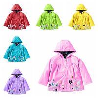 Kid Baby Girl Hooded Waterproof Jackets Coat Cute Outerwear Raincoat Windbreaker