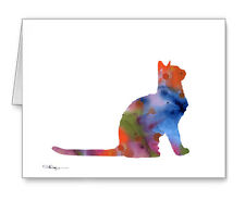 Cat Sitting note cards by watercolor artist Dj Rogers
