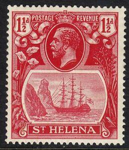 ST HELENA 1922-37 SG99f 1½d DEEP CARMINE-RED MM FRAME BREAK VARIETY