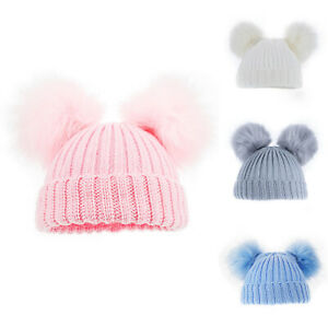 Baby Knitted Ribbed Double Pom Pom Fur Hats NB-12 Months