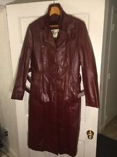 Vintage women's BERMAN'S brown leather detachable lining trench coat size 16