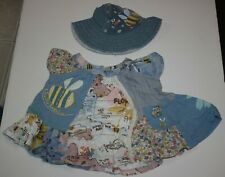 Used Next Uk Girls 3-6m Mixed Material Swing Top Honey Bee Flowers Ruffle & Hat