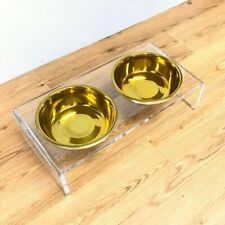 New listing Clear Acrylic Double Bowl Pet Feeder with Gold Bowls | 2-Quart Bowls