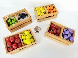 Vintage ~200 pcs~ Wood Crates Fruit & Veggies 1:12 Dollhouse Miniature Groceries