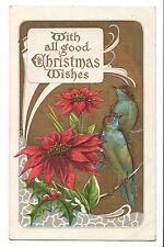 Vintage Postcard Christmas Wishes Embossed Poinsettia Flowers Birds