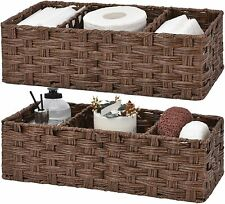 Bathroom Storage Basket Shower Organizer Baskets Caddy Wicker mDesign Pack Shelf