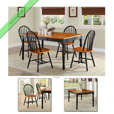 5 Pc Farmhouse Dining Room Set Table 4 Chair Wood Windsor Country Sets Black Oak