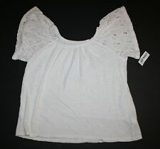 New Old Navy White Eyelet Short Sleeve Swing Style Top Shirt Size 8 Year NWT